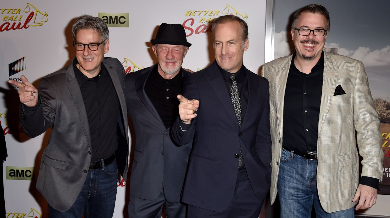 Peter Gould, Jonathan Banks, Bob Odenkirk y Vince Gilligan.