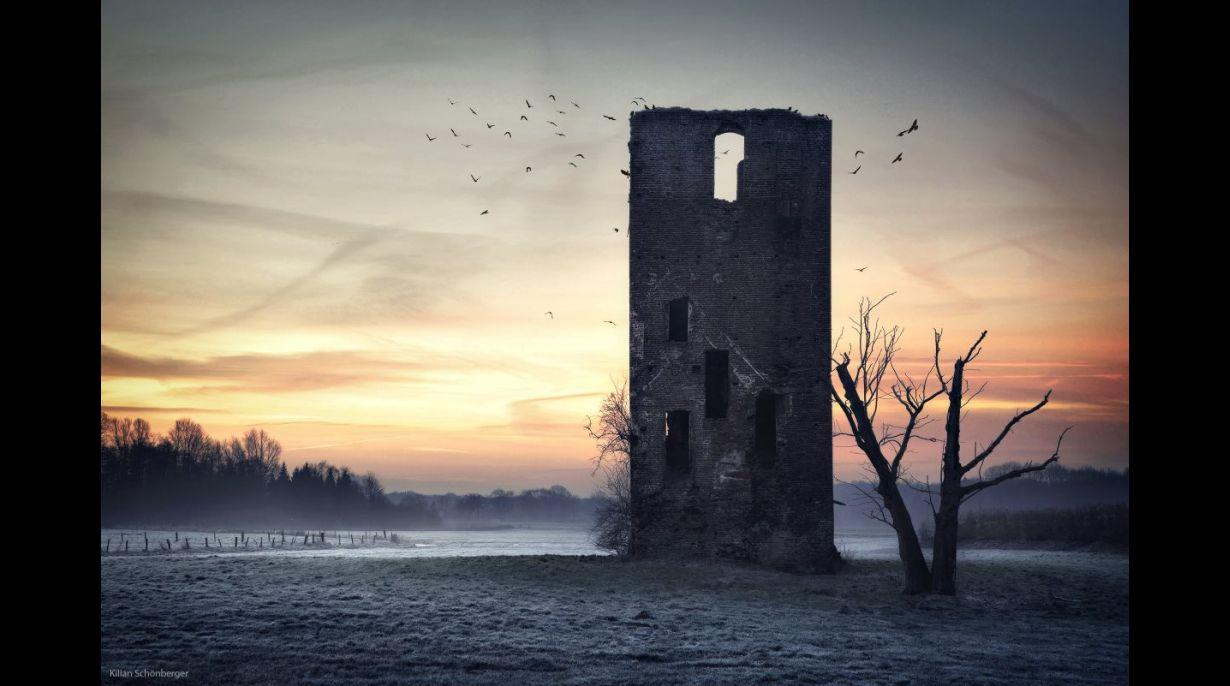 Torre de los cuervos en la frontera entre Países Bajos y Alemania