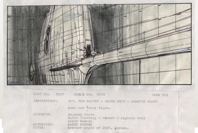 EL storyboard de la batalla entre Luke y Darth Vader en Episodio VI