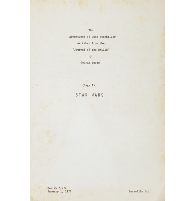 El nombre original de la Saga galáctica de Lucas se puede ver en el guión