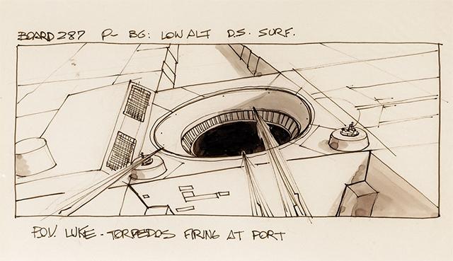 Parte del storyboard de la batalla en la Estrella de la Muerte